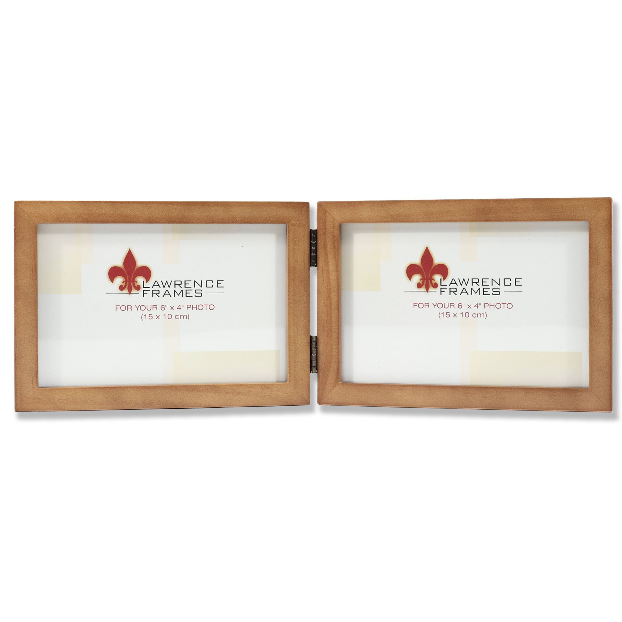 Lawrence Frames 766064D Nutmeg Wood Hinged Double Picture Frame, 6 by 4-Inch