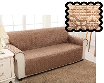 UK StockQUILTED DAMASK JACQUARD SLIP OVER COUCH SETTEE SOFA COVER