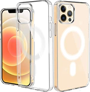 EdorReco Magnetic Case for iPhone 12/12 Pro Support Magnetic Safe Wireless Charging, Anti-Yellowing Shockproof Case Compatible with iPhone 12/12 Pro (6.1 Inch 2020), Crystal Clear