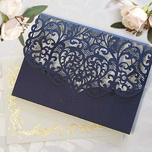 Amazon Com 50 Cards Pack Elegant Invitation Cards Laser Cut