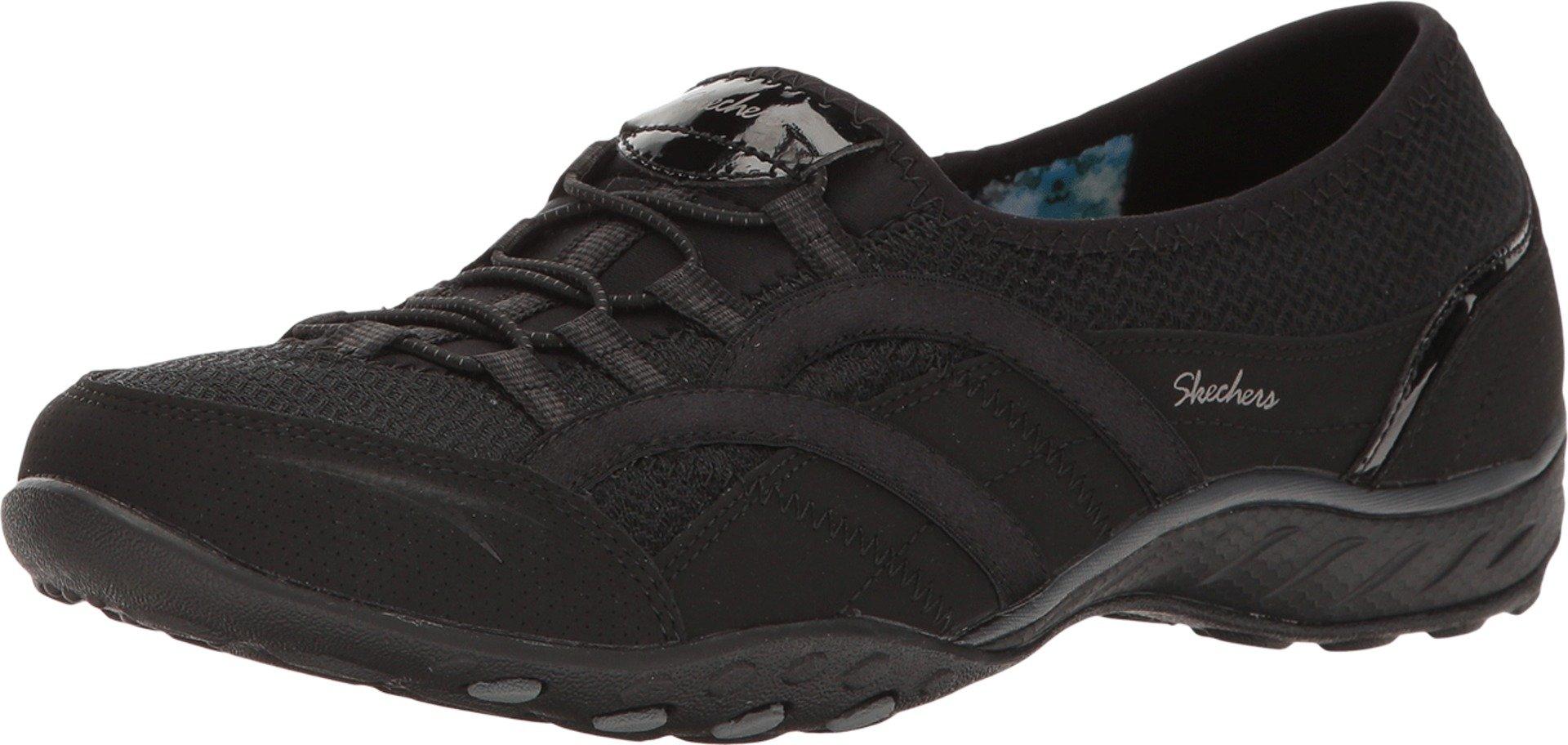 Skechers Womens Relaxed Fit Breathe Easy Faithful Slip-On Sneaker,Black,US 10 M
