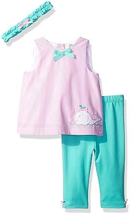 c0129d3525fda Little Me Baby Girls' 3 Piece Woven Tunic Set with Headband, Pink/Multi