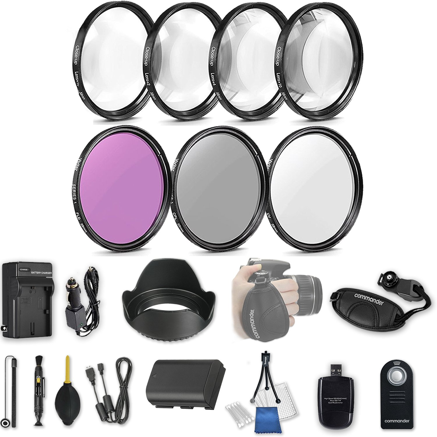 58mm 21 Pc Accessory Kit for Canon EOS Rebel 70D, 80D DSLRs with UV CPL FLD Filters, & 4 Piece Macro Close-Up Set, Battery, and More by 33rd Street