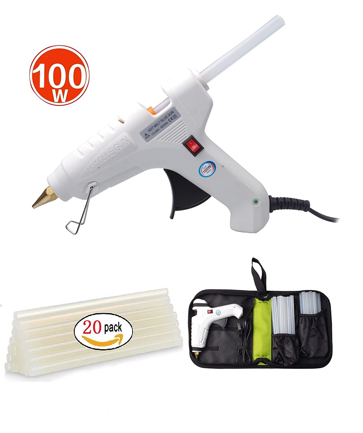 Efaithtek 100 Watt Hot glue Gun with 20PCS Melt Glue Sticks and carry bag for Arts & DIY Crafts, & Sealing and Quick Repairs in Home & Office (White)