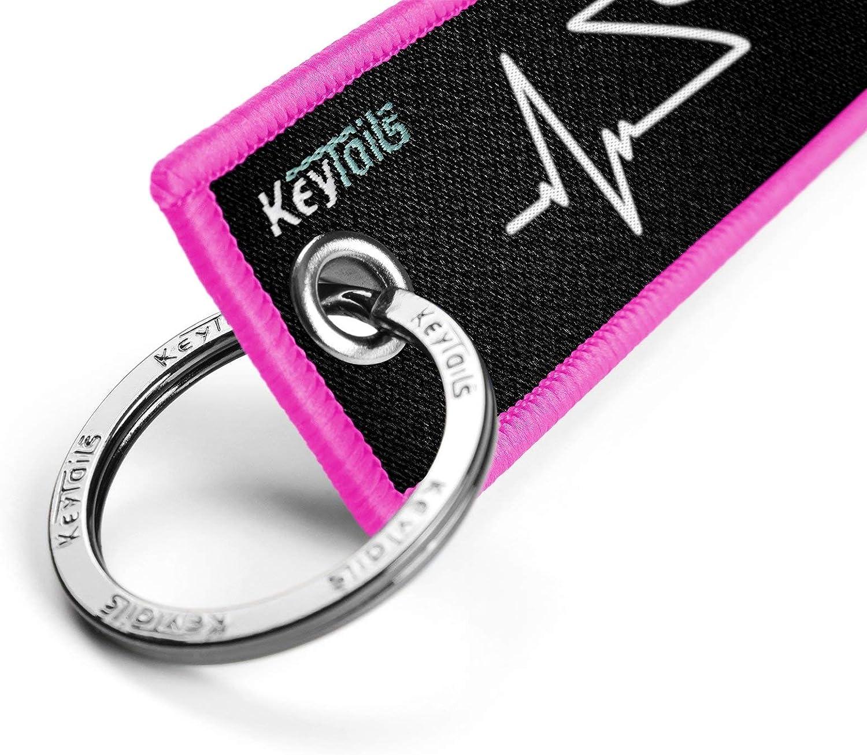 Car ATV UTV Premium Quality Key Tag for Motorcycle KEYTAILS Keychains Adventure, Dual Sport - Heartbeat Scooter