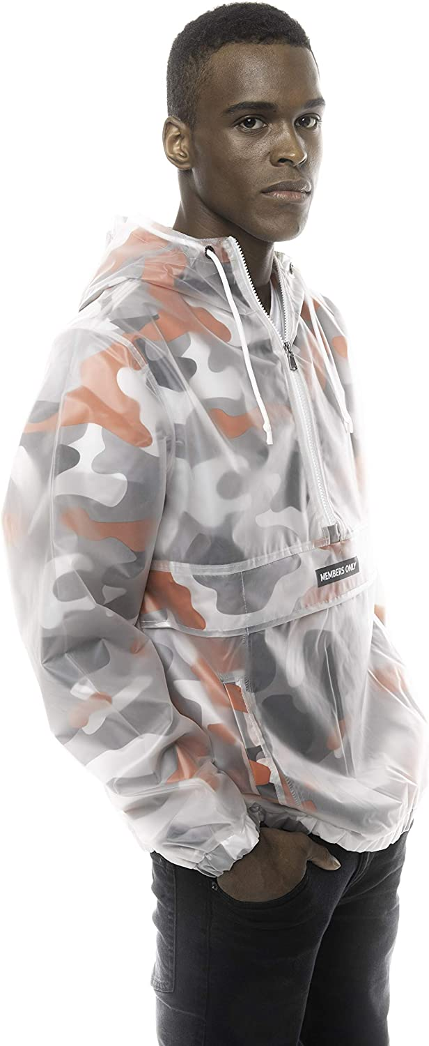 Members Only Mens Printed Camo Transluscent Pullover Half Zip Layering Jacket