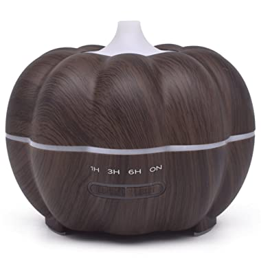 Pumpkin Essential Oil Diffuser, OULYLAN 300ml Aroma Ultrasonic Cool Mist Humidifier Wood Grain Aromatherapy Air Purifiers for Bedroom Halloween Decorations