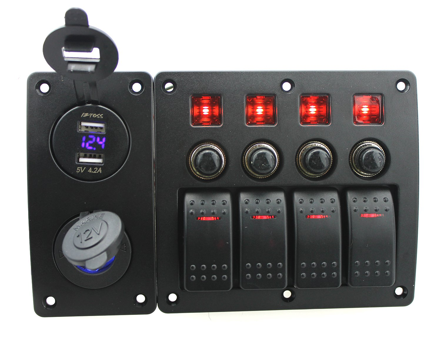 Iztor 4 Gang Waterproof Curved surface Switch Panel with red LED Indicators for Circuit Breaker with blue led power charger and DC12V/24V USB voltmeter panel by iztor