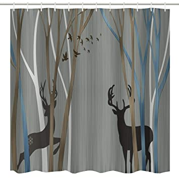 Genial Elegant Fabric Shower Curtain,Winter Deer And Bird In Tree Forest Christmas  Holiday Themed Print