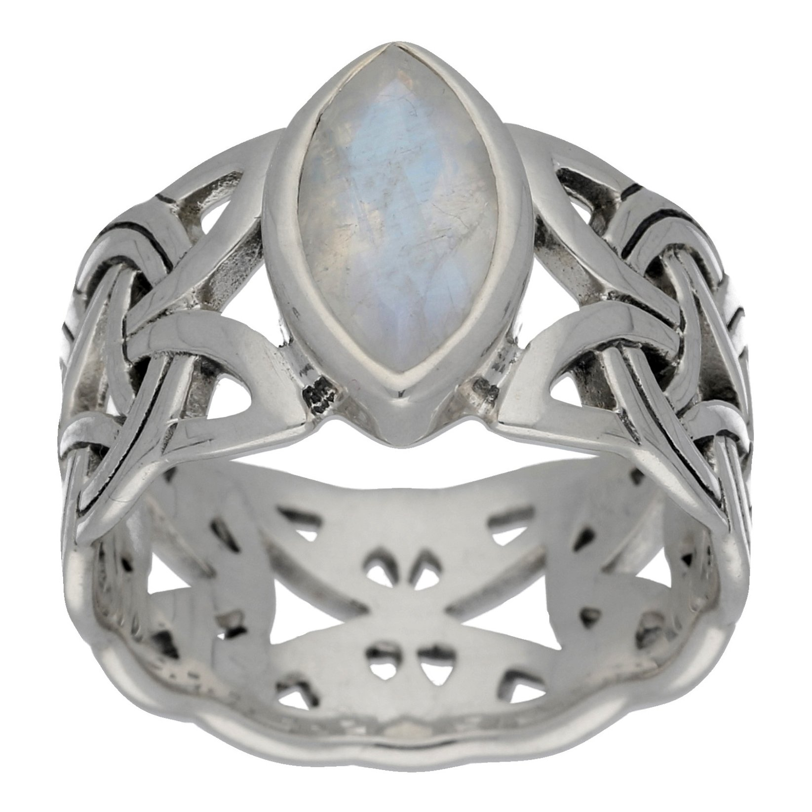 Borre Knot Rainbow Moonstone Ellipse Viking Braided Wedding Band Norse Celtic Sterling Silver Ring Size 8(Sizes 4,5,6,7,8,9,10,11,12,13,14,15)
