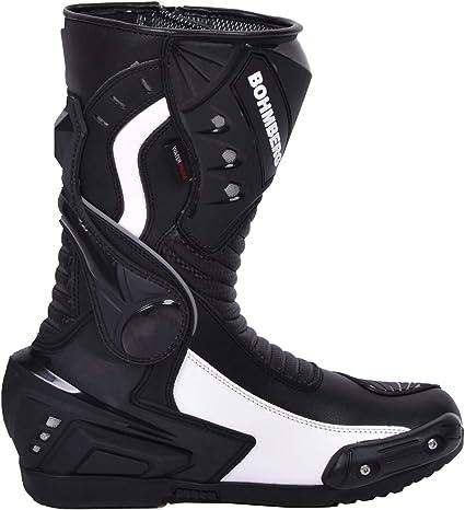 Bottes de Moto pour Homme en Cuir Robuste avec Protections de Coque rigides expos/ées Bottes de Sport en Cuir Imperm/éable 42 Noir BOHMBERG/®