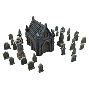 EnderToys Mausoleum Graveyard Scene, Terrain Scenery for Tabletop 28mm Miniatures Wargame, 3D Printed and Paintable
