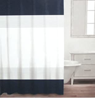 Caro Home 100 Cotton Shower Curtain 72 X Stripe Navy Shimmery