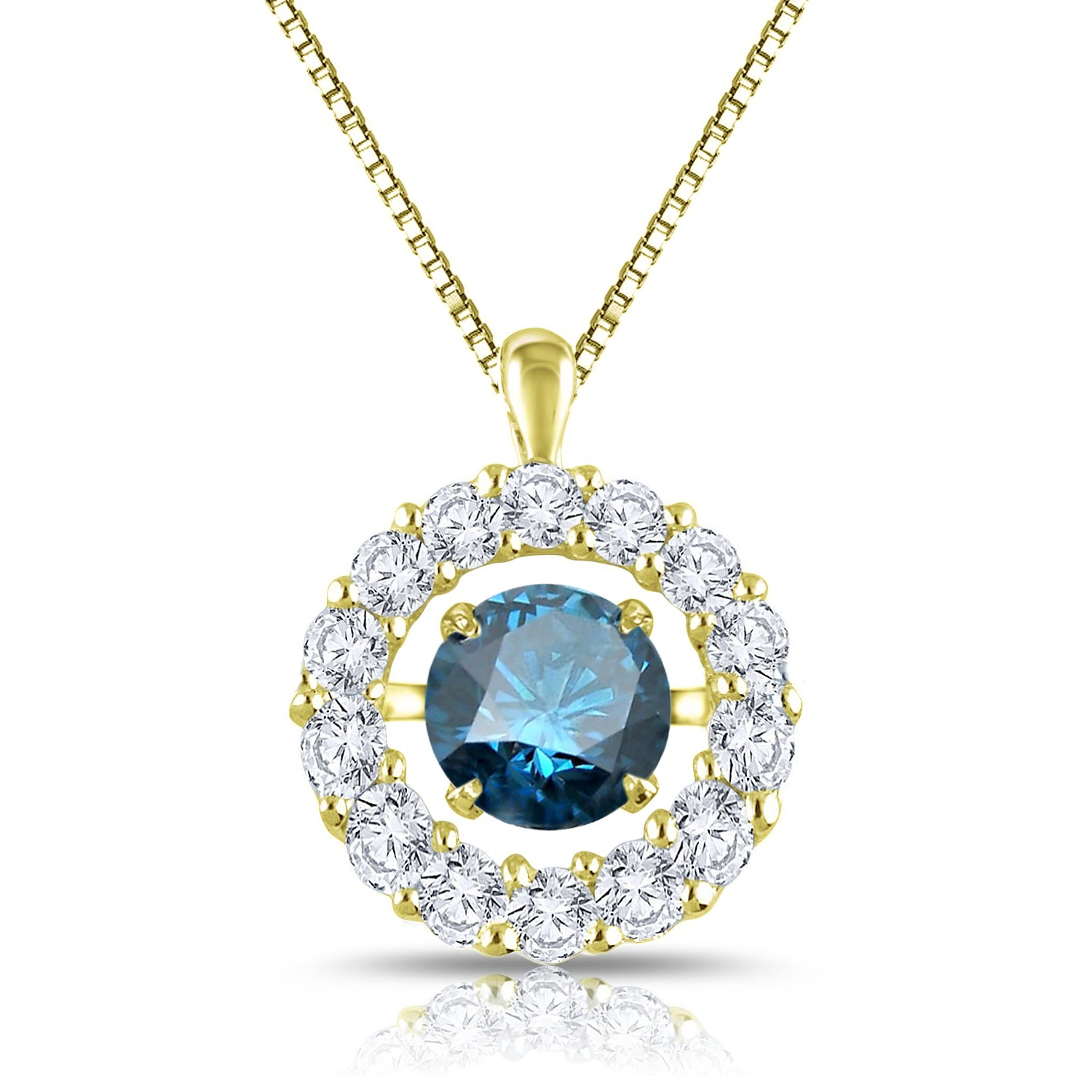 Diamond Wish 14k Yellow Gold Dancing Blue Diamond In Rhythm Circle Halo Pendant Necklace (1 cttw, Blue) with 18'' Chain