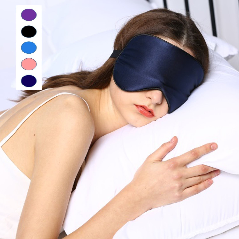 Silk Sleep Mask & Blindfold, Soft Eye Mask with Adjustable Head Strap, Deep Rest Eye Masks for Sleeping Night Eyeshade, Eye Cover for Travel, Shift Work & Meditation(Purple) Rayhee