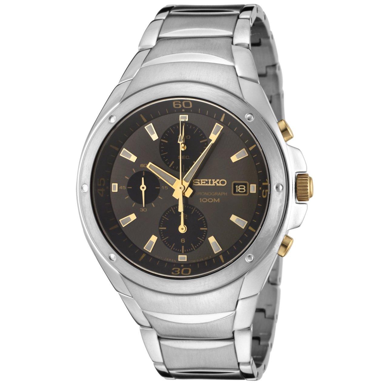 Seiko Men s SND783P Chronograph Black Dial Stainless Steel Watch