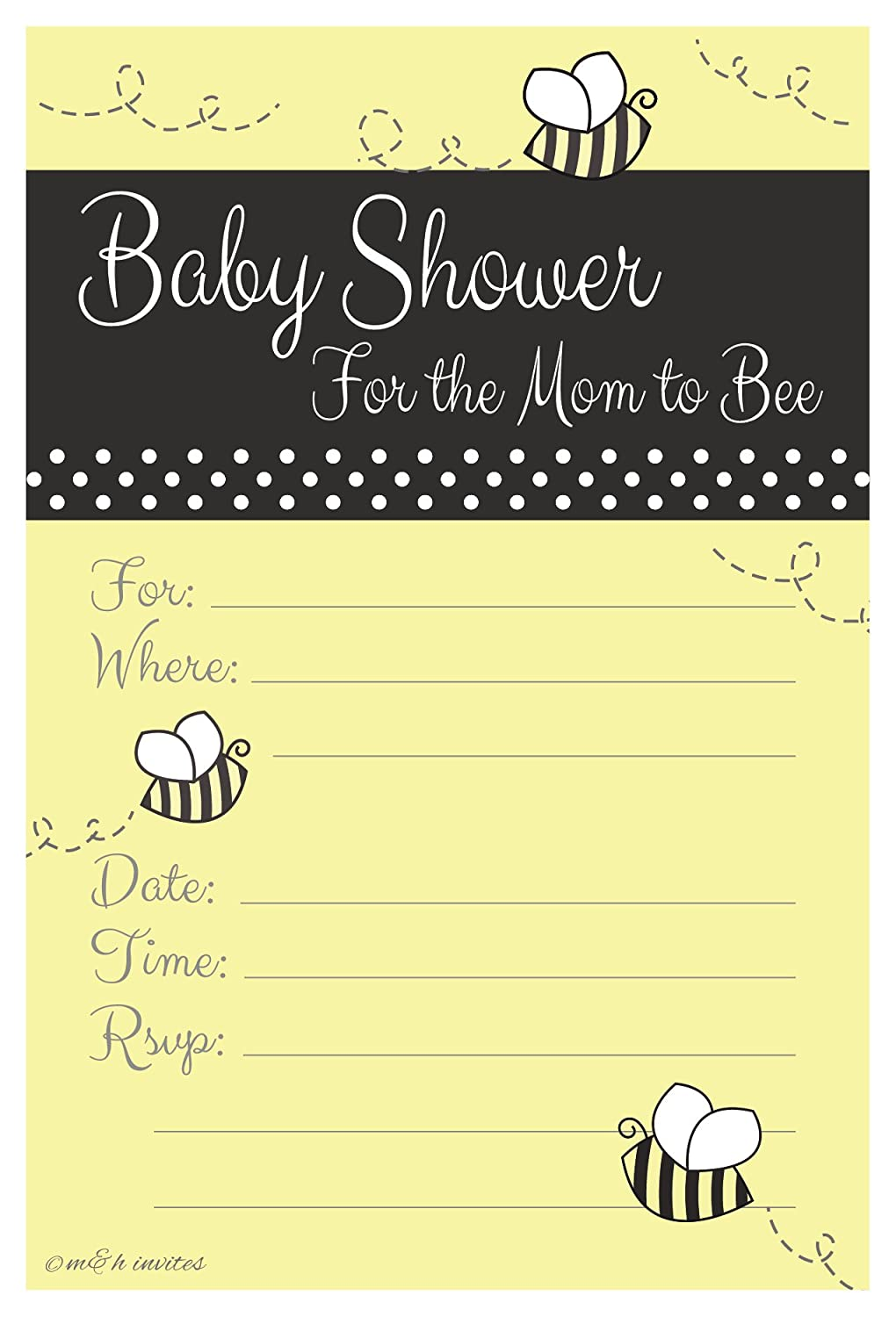 Amazon.com: Bumble Bee Baby Shower Invitations - Fill In Style (20 ...