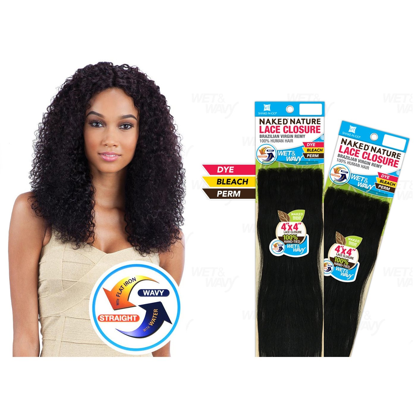 """NAKED Nature Brazilian Virgin Remy Hair Wet&Wavy 4""""x4"""" Lace Closure - Bohemian Curl 12"""" #Natural"""