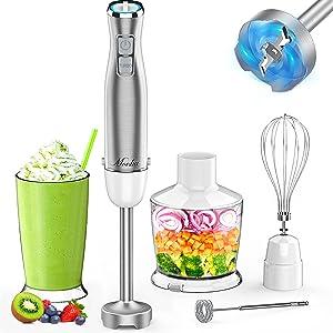 MOOKA Hand Blender, 5-in-1 Multi-Purpose Immersion Blender, 1100W 12-Speed Stick Blender, 600ml Beaker, 500ml Food Chopper, Egg Whisk, Milk Frother, White