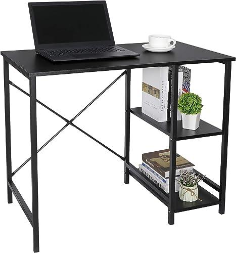 SUPER DEAL Computer Writing Desk Wood and Metal Study Desk