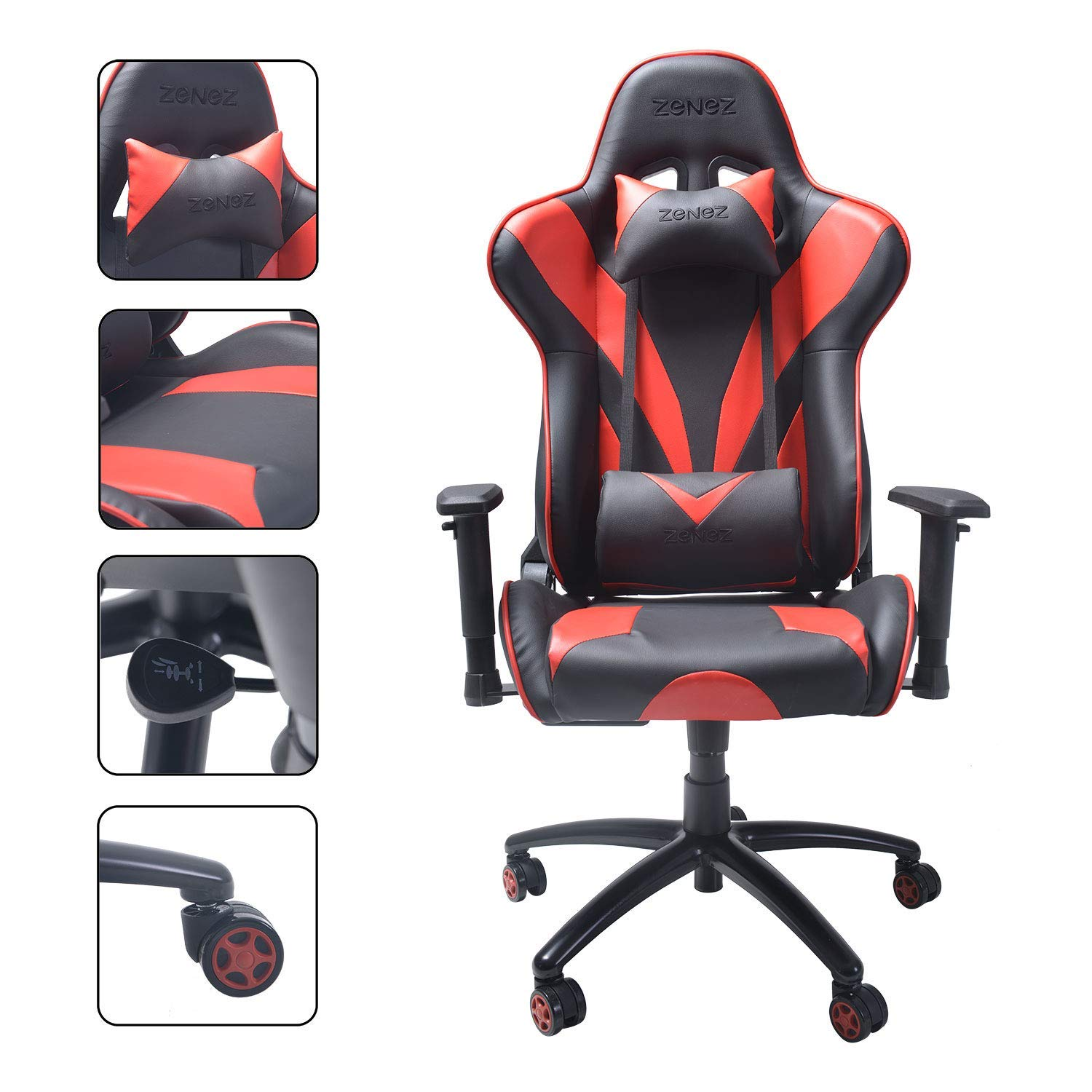 ZENEZ Gaming Chair Office Chair Aluminum Alloy Five-Star Base Racing Style Ergonomic Computer Chair with Backrest and Seat Height Adjustable Swivel Rocker with Headrest and Lumbar Pillow XL (Red)
