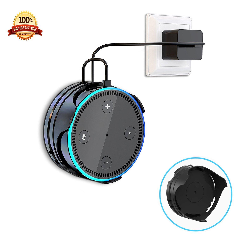 [Aggiornato] Supporto a muro per  Echo Dot 2nd Generation iThird Supporto per asta portaoggetti ovunque in posizione con avvolgimento cavo per altoparlante Smart Home-Nero