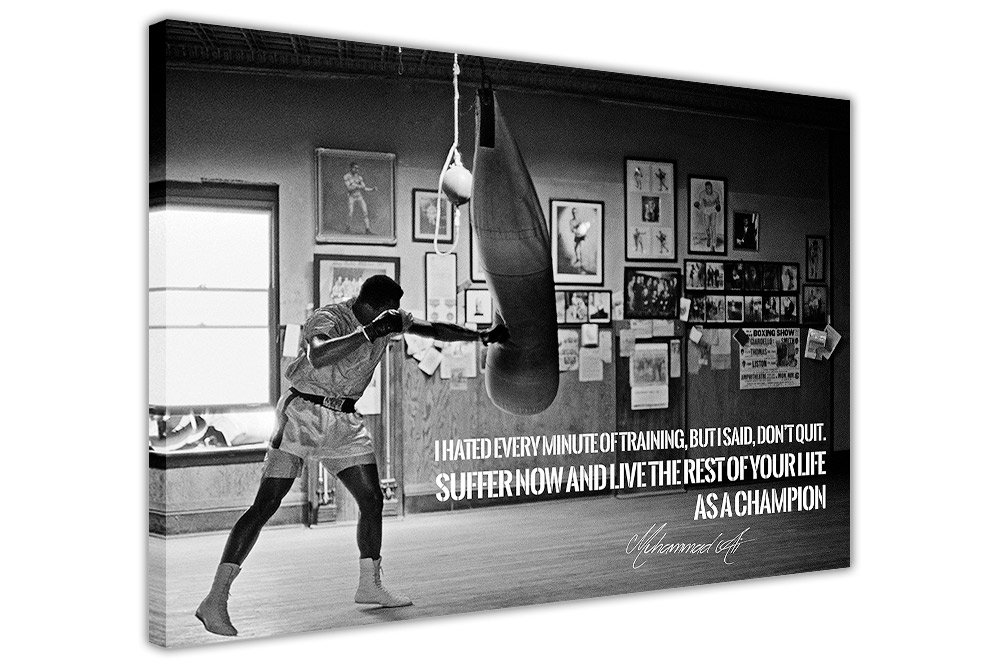 BLACK WHITE MUHAMMAD ALI CHAMPION QUOTE CANVAS WALL ART PRINTS ROOM DECORATION PICTURES Canvas It Up
