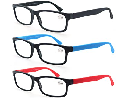 MODFANS Pack de 3 Gafas de Lectura 1.25/Gafas para Presbicia Hombres/Mujeres,Buena Vision Ligeras Comodas,Vista de Cerca/Vista Cansada,Colores ...