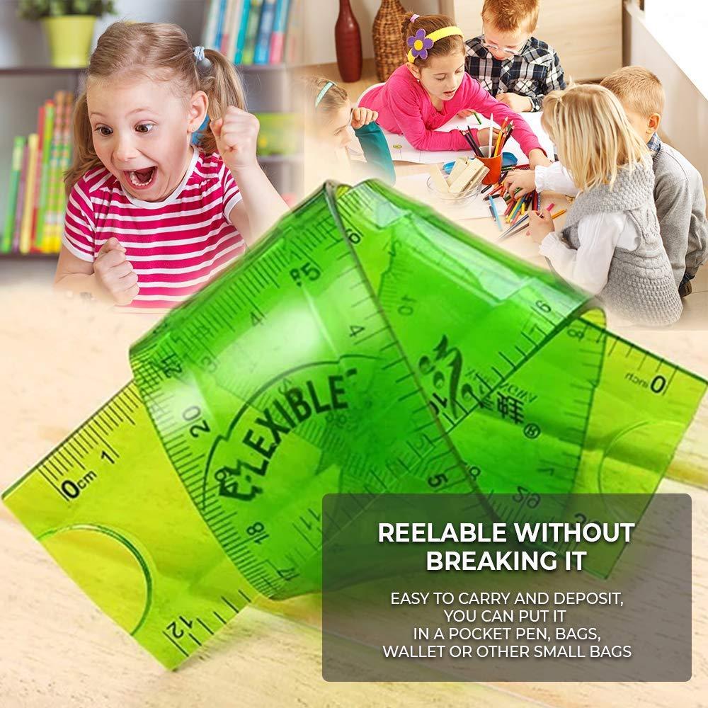 6 Pack 3X 30cm /& 3X 20cm Translucent Shatterproof Flexible Ruler