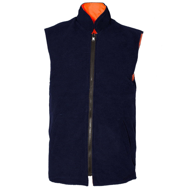 Expert Workwear Hi VIS Viz Reversible Fleece Lined Bodywarmer Gilet Sleeveless Waistcoat