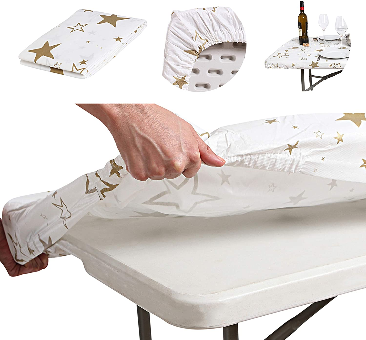 AtkEssentialProducts Waterproof Plastic Vinyl Tablecloth Elastic Edged Rectangular Fitted Picnic Cover Outdoor tablecloths Rectangle Tables Home Indoor Fits 8 ft 32x96 Folding Table Gold Patterned