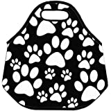 Estrellaw White Paw Print And Black Background Lunch Bag