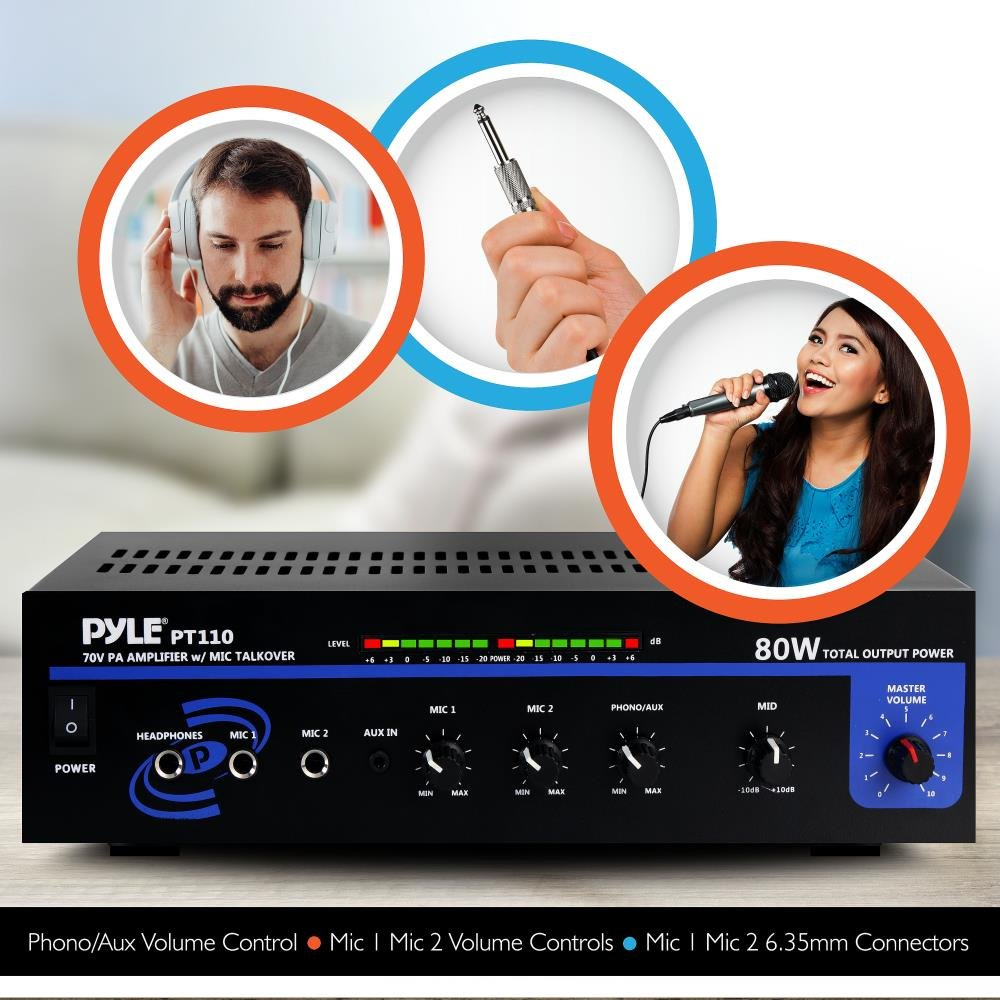 Pyle Home PT110 80-Watt AC/DC Microphone PA Mono Amplifier with 70-Volt Output by Pyle (Image #2)