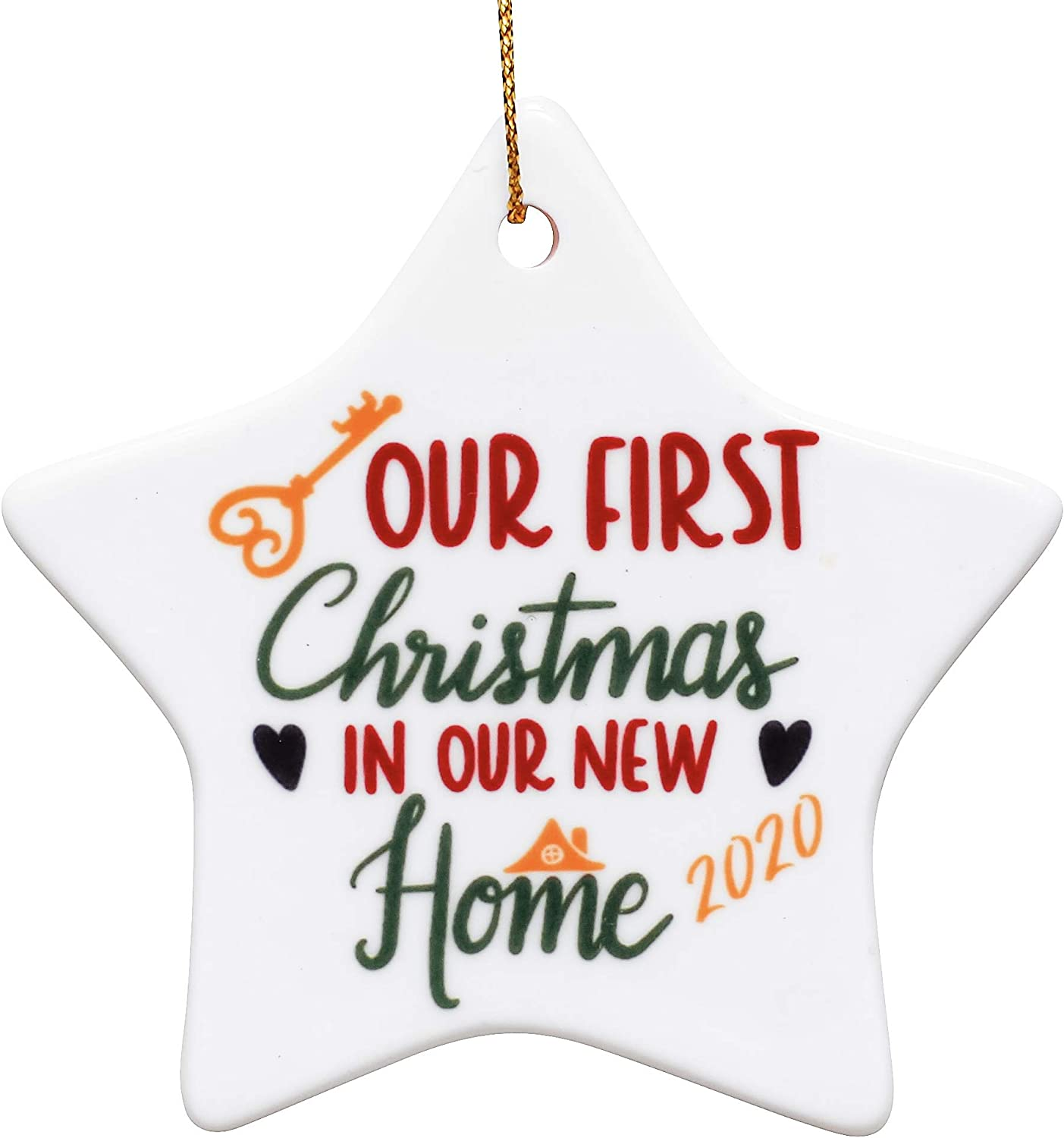Heart's Sign Ceramic First Christmas in New Home Ornament 2020 | Xmas New Homeowner | New Home Gifts for Home | Our First Apartment Ornament 2020 | New House Gifts for Newlyweds Home