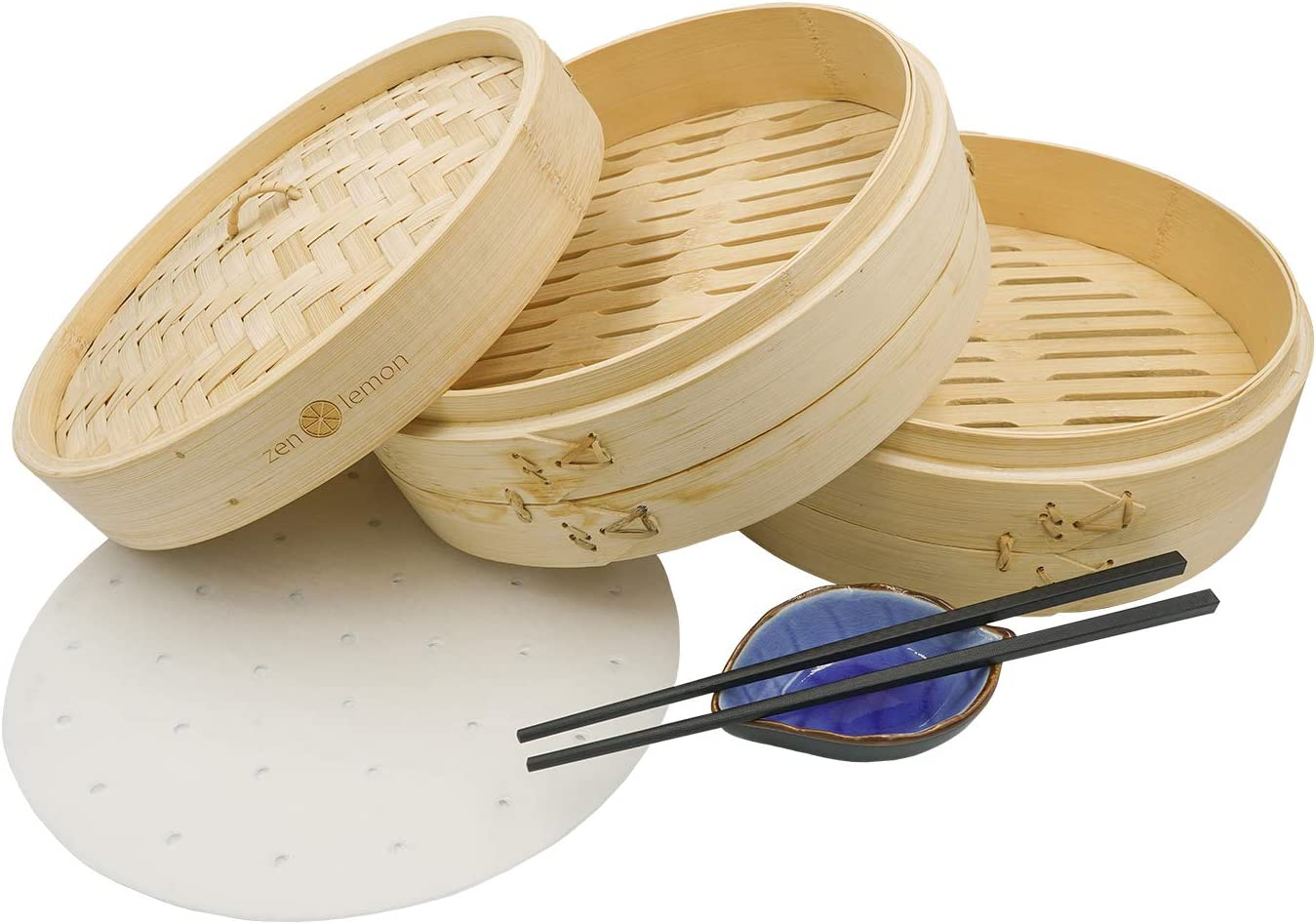 Bamboo Steamer 10 Inch - Handmade Steam Basket Bamboo - 2 Tier Dumpling Steamer Ideal For Dim Sum, Vegetables, Bao Buns & More - 2 Sets of Reusable Chopsticks, 20 Liners, Ceramic Sauce Dish Included
