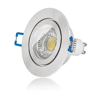 Led Bad Einbaustrahler Set Ip44 dimmbar inkl Einbaurahmen fein geb/ürstet 230V 6W Gu10 3000k warm-wei/ß Decken-einbau-strahler-leuchte-lampe-spot Ra90