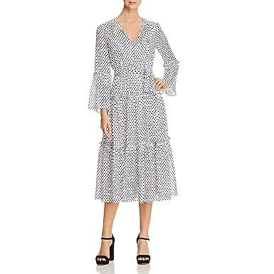 495c1c31870c7a Michael Michael Kors Womens Boho Tea Length Party Dress B/W S White/Black