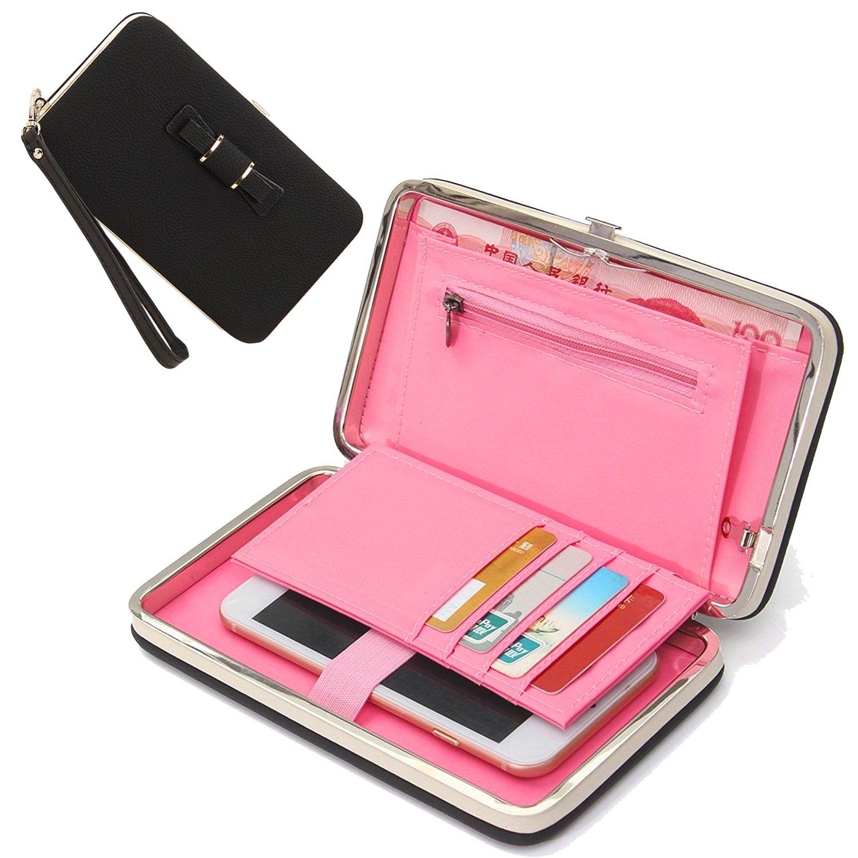 Groß Kapazität Geldbörse Damen, Lady Mädchen Handy Leder Phone Case Hülle Brieftasche mit Karte Halter Handschlaufe Strap, Multifunktions Portemonnaie Handtasche Geldbeutel