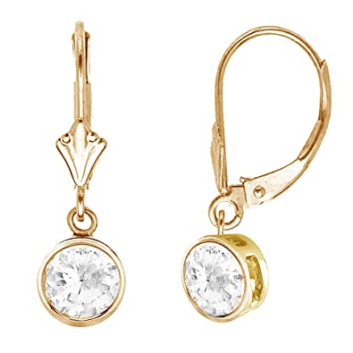 cdf1470f6 Image Unavailable. Image not available for. Color: Ritastephens 14k Yellow  Gold Round Bezel Set Dangle ...