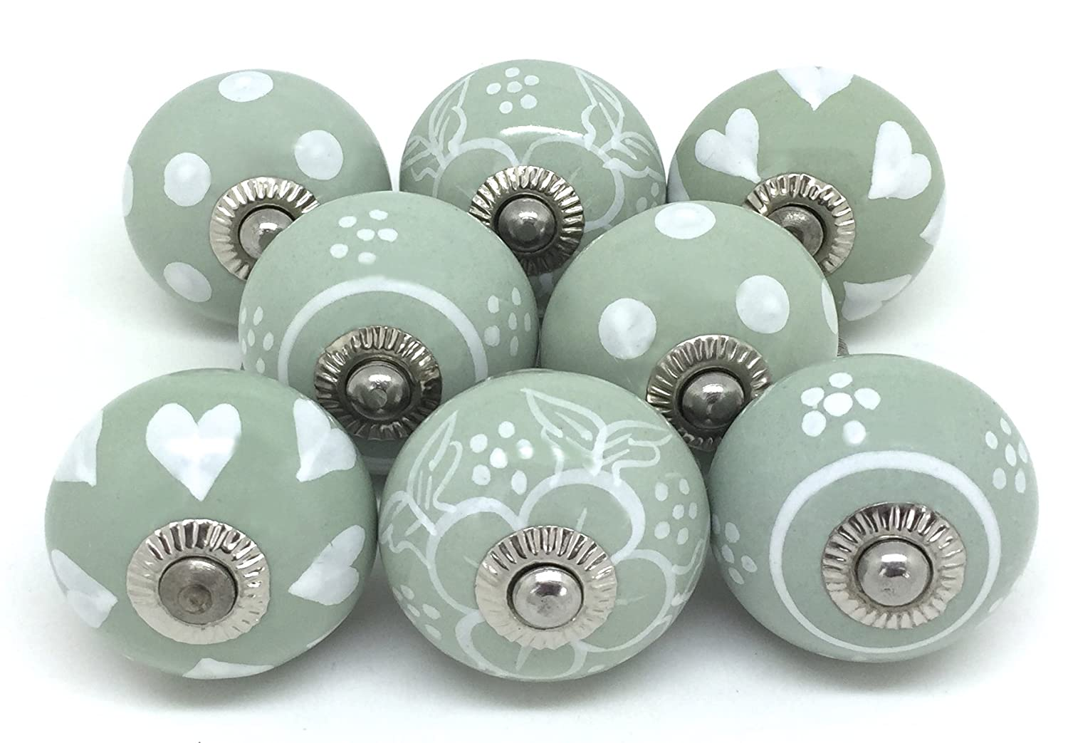 Set of 8 Sage Green White Ceramic Door Knobs by These Please S8