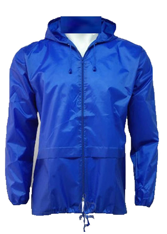 Men's 100% Waterproof Showerproof Kagoul Jacket Rain Coat Kagool extended hood (XXL, Royal)