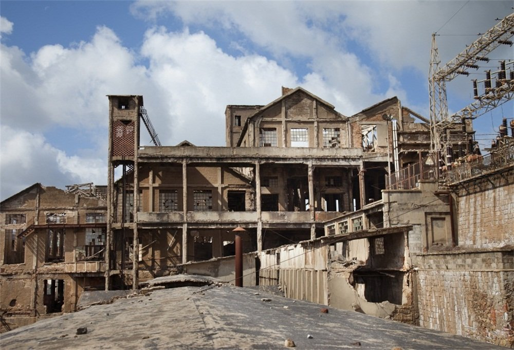 LFEEY 10x8ft West Town Abandoned Mine Backdrop Italy Western Derelict mining in Iglesias Old Industrial Park Building Ruins Photography Backgrounds Travel Scenic Spots Photo Studio Props