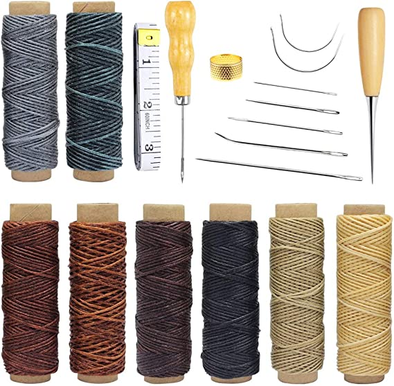 Homgaty 19 hilos encerados de cuero de 440 yardas, hilo encerado de costura con agujas de coser a mano, punzón de perforación y dedal herramientas para tapicería de ...