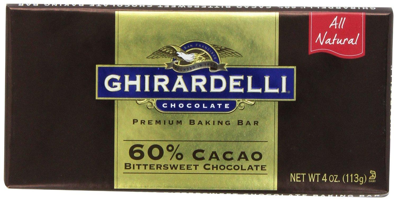 Amazon.com : Ghirardelli Bitter Sweet Baking Bar, 60% Cacao-4 OZ ...