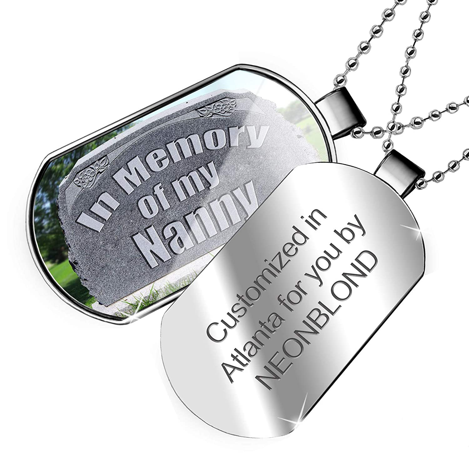 R.I.P Dogtag Necklace NEONBLOND Personalized Name Engraved in Memory of My Nanny