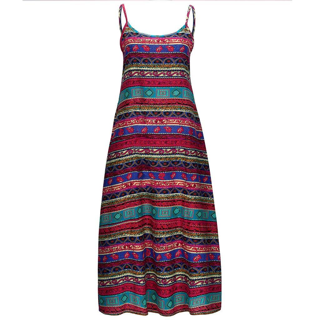 Lomsarsh Women's Dress, Ladies Bohemian Vintage Sling Sleeveless Loose Print O-Neck Dress Summer Dress Casual Strap Long Dress Sundresses