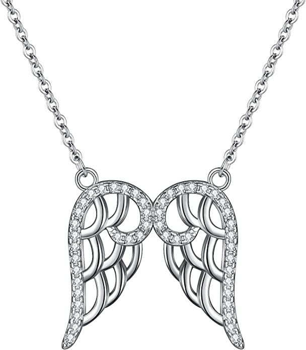 925 Sterling Silver Angel Wings Necklace 16.5 Inch Jewelry Gifts for Women