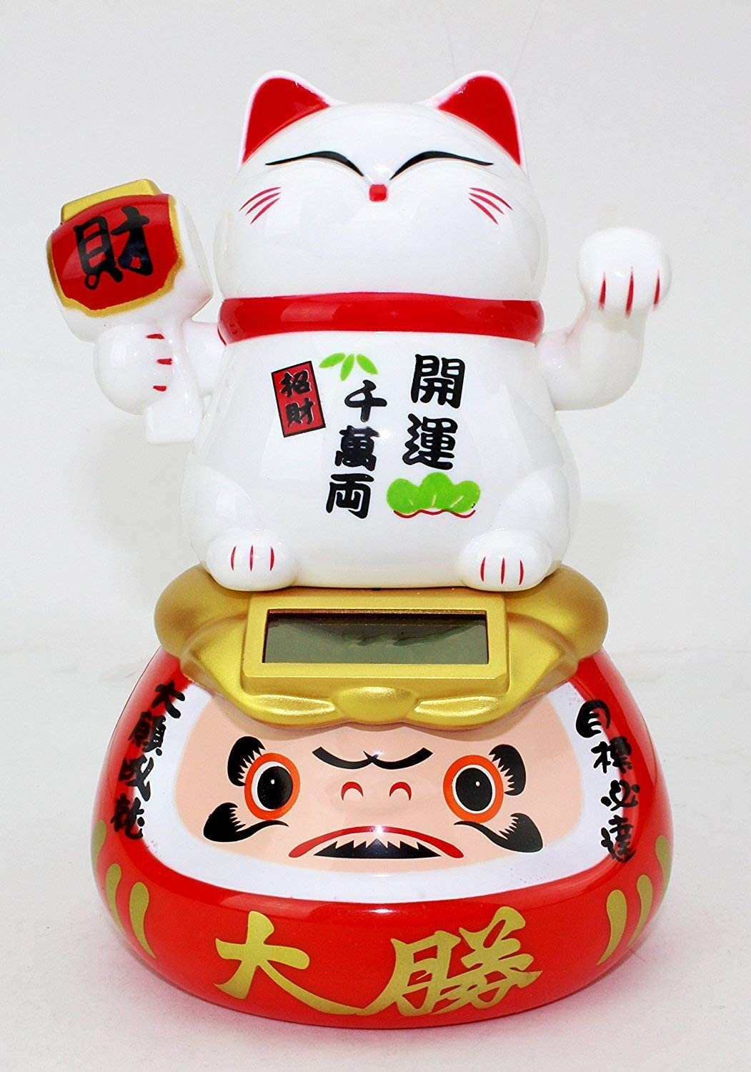 A White Beckoning Fortune Cat Japanese Oriental Solar Toy Home Decor US Seller