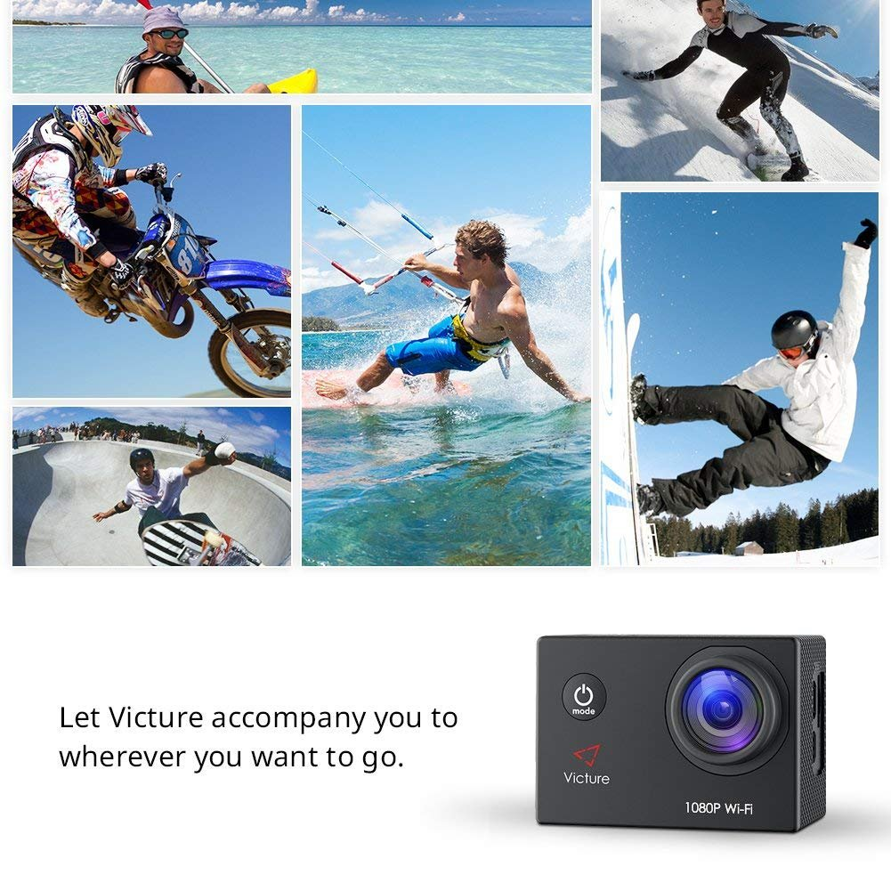 Victure Action Camera Full HD 1080P WiFi Waterproof Underwater Camcorder 2 LCD 170 Degree Ultra Wide Angle 30 m Sports Helmet Cam with 2 Batteries and Free Accessories by Victure (Image #7)