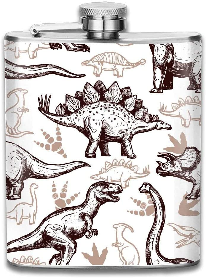 iuitt7rtree Dinosaur Clip Art Portable Stainless Steel Flagon Liquor Flask